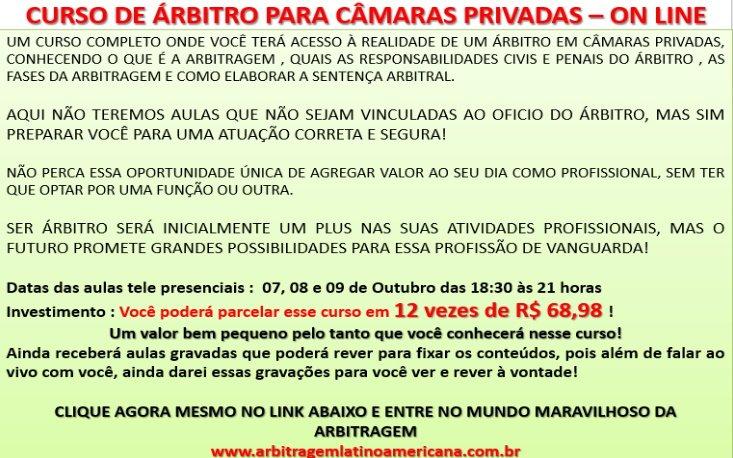 CURSO DE ÁRBITRO PARA CÂMARAS PRIVADAS – ON LINE